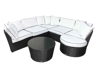 Valencia Rattan Garden Corner Sofa Set in Black and Vanilla