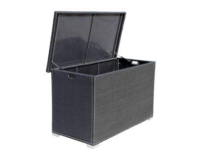 Outdoor Rattan Garden Storage Box in Black