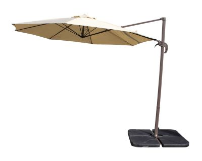 Rotating Cantilever Parasol and Plastic Base in Chocolate and Cream