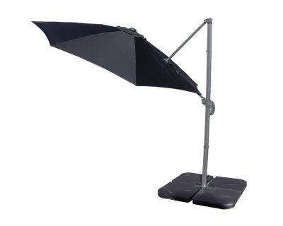 Rotating Cantilever Parasol and Plastic Base in Black