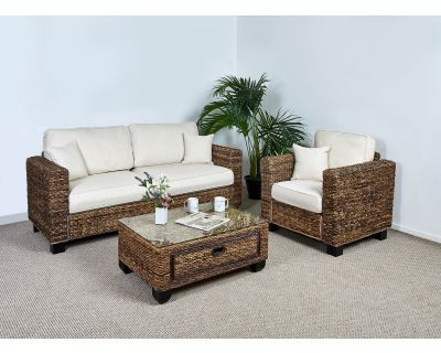 Kensington Abaca 3 Seater Sofa Set - 1x Sofa, 1x Armchair, 1x Medium Coffee Table in Oatmeal