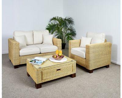 Kensington Wicker 2 Seat Medium Sofa Set - 1x Sofa, 1x Armchair, 1x Medium Coffee Table in Oatmeal