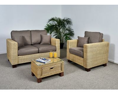 Kensington Wicker 2 Seat Medium Sofa Set - 1x Sofa, 1x Armchair, 1x Small Coffee Table in Autumn Biscuit