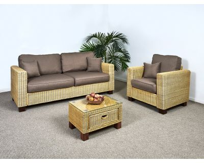 Kensington Wicker 3 Seater Sofa Set - 1x Sofa, 1x Armchair, 1x Small Coffee Table in Autumn Biscuit