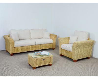 Kingston Wicker 3 Seater Sofa Set - 1x Sofa, 1x Armchair, 1x Small Coffee Table in Oatmeal