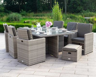 Barcelona 13 Piece Rattan Garden Cube Set in Grey