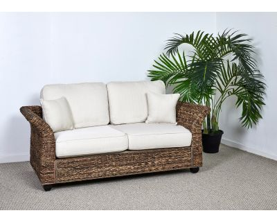 Three Seater Conservatory Sofa With White Cushions