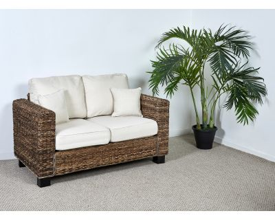 Two Seater Rattan Sofa With White Cushions