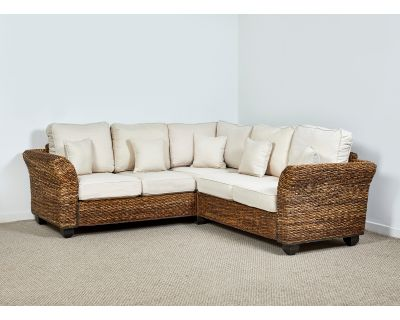 Kingston Abaca 161cm x 236cm Natural Rattan Corner Sofa in Oatmeal
