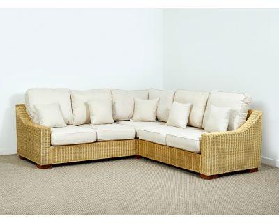 Regal Wicker 154cm x 229cm Natural Rattan Corner Sofa in Oatmeal