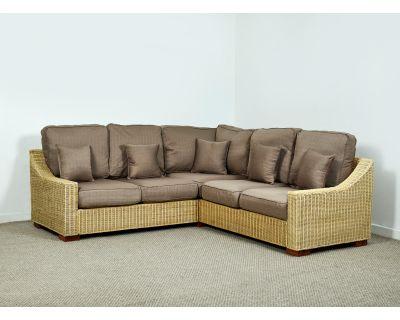 Regal Wicker 264cm x 264cm Large Natural Corner Sofa in Autumn Biscuit