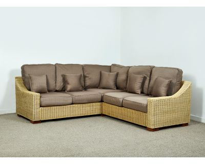 Regal Wicker Rattan Corner Sofa 154cm (Left Side) x 229cm (Right Side) in Autumn Biscuit