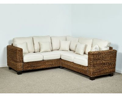 Kensington Abaca 154cm x 154cm Rattan Corner Sofa in Oatmeal