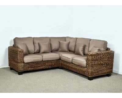 Kensington Abaca 154cm x 264cm Rattan Corner Sofa in Autumn Biscuit