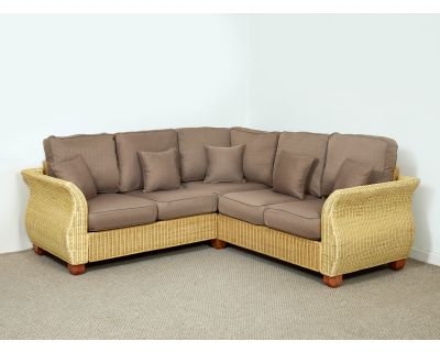Chelsea Wicker Rattan Corner Sofa 158cm (Left Side) x 158cm (Right Side) in Autumn Biscuit