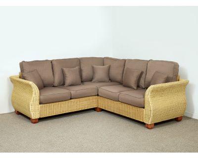 Chelsea Wicker Rattan Corner Sofa 233cm (Left Side) x 268cm (Right Side) in Autumn Biscuit