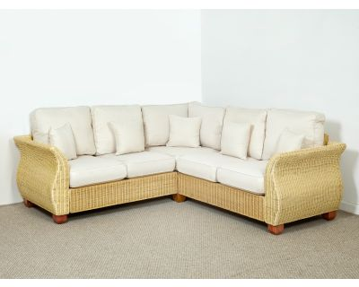 Chelsea Wicker 213cm x 213cm Indoor Rattan Corner Sofa in Oatmeal