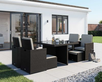 Barcelona 9 Piece Rattan Garden Cube Set in Black and Vanilla