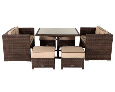 Barcelona Rattan Garden Sofa Cube Set in Chocolate Mix and Coffee Cream