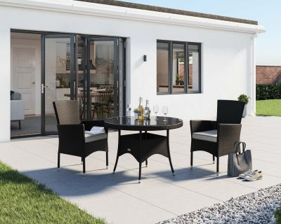 Cambridge 2 Rattan Garden Chairs and Small Round Table Set in Black and Vanilla