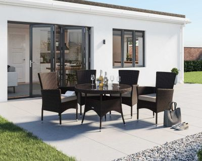 Cambridge 4 Rattan Garden Chairs and Small Round Dining Table Set in Chocolate and Cream