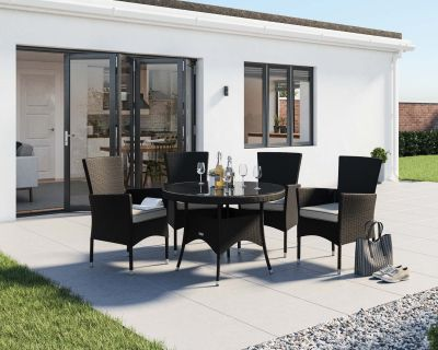 Cambridge 4 Rattan Garden Chairs and Small Round Dining Table Set in Black and Vanilla
