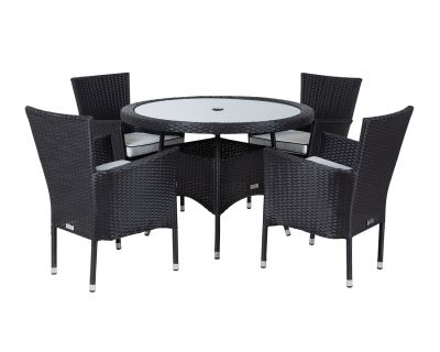 Cambridge 4 Rattan Garden Chairs and Small Round Table Set in Black and Vanilla