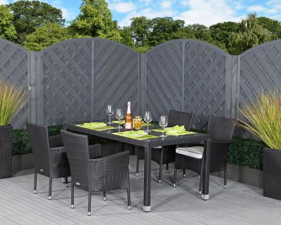 Cambridge 4 Stackable Rattan Garden Chairs and Open Leg Rectangular Table Set in Black and Vanilla