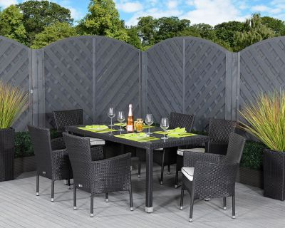 Cambridge 6 Stackable Rattan Garden Chairs and Open Leg Rectangular Table Set in Black and Vanilla