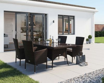 Cambridge 4 Rattan Garden Chairs and Rectangular Dining Table Set in Chocolate and Cream