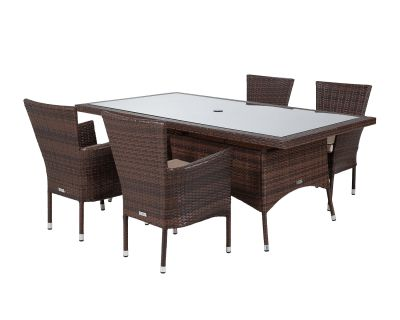Cambridge 4 Rattan Garden Chairs and Rectangular Table Set in Chocolate and Cream