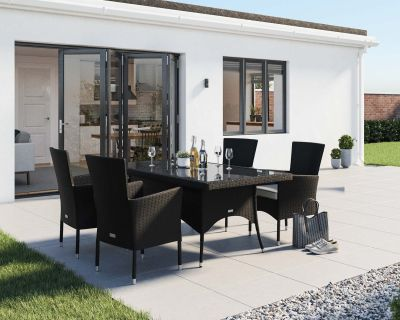 Cambridge 4 Rattan Garden Chairs and Rectangular Dining Table Set in Black and Vanilla