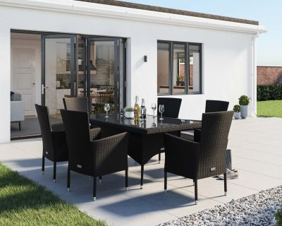 Cambridge 6 Chairs and Rectangular Dining Table Set in Black and Vanilla