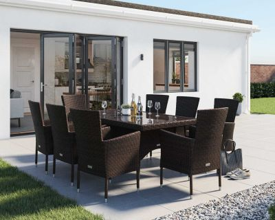 Cambridge 8 Rattan Garden Chairs and Rectangular Dining Table Set in Chocolate and Cream