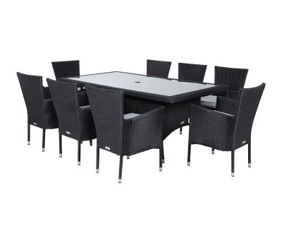 Cambridge 8 Rattan Garden Chairs and Rectangular Table Set in Black and Vanilla