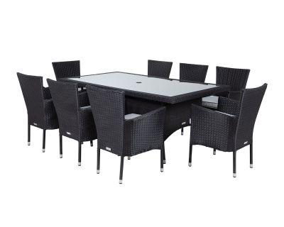 Cambridge 8 Rattan Garden Chairs and Rectangular Table Set in Black and Vanilla