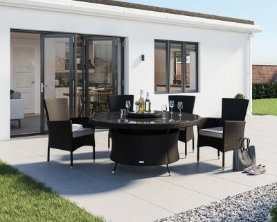 Cambridge 4 Rattan Garden Chairs and Large Round Dining Table Set in Black and Vanilla