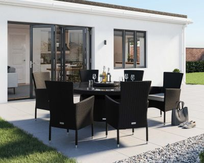 Cambridge 6 Chairs and Large Round Dining Table Set in Black and Vanilla