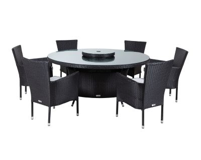 Cambridge 6 Chairs and Large Round Table Set in Black and Vanilla