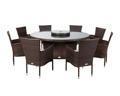 Cambridge 8 Rattan Garden Chairs and Large Round Table Set in Chocolate and Cream