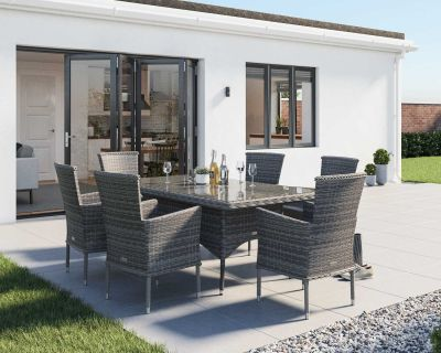 Cambridge 6 Rattan Chairs and Rectangular Dining Table Set in Grey