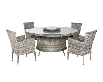Cambridge 4 Chairs and Large Round Table Set in Grey