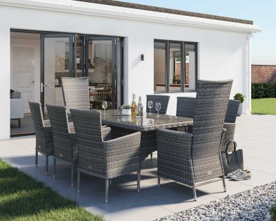Cambridge 2 Reclining + 6 Non-Reclining Rattan Garden Chairs and Rectangular Table Set in Gre