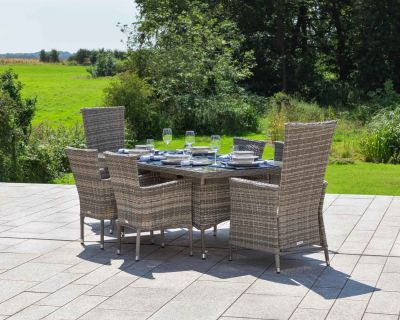 Cambridge 2 Reclining + 4 Non-Reclining Rattan Garden Chairs and Rectangular Table Set in Grey