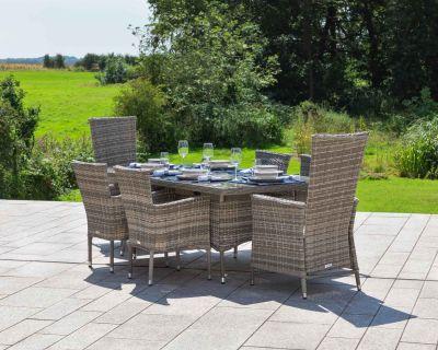 Cambridge 2 Reclining + 4 Non-Reclining Rattan Garden Chairs and Rectangular Table Set in Grey
