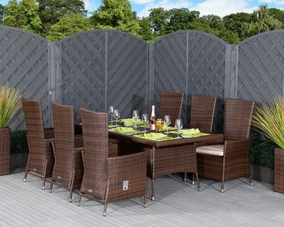 Cambridge 6 Reclining Rattan Garden Chairs and Rectangular Table Set in Chocolate and Cream