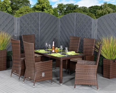 Cambridge 6 Reclining Rattan Garden Chairs and Open Leg Rectangular Table Set in Chocolate Mix and Coffee Cream