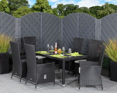 Cambridge 6 Reclining Rattan Garden Chairs and Open Leg Rectangular Table Set in Black and Vanilla