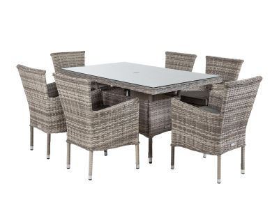 Cambridge 6 Rattan Chairs and Small Rectangular Table Set in Grey