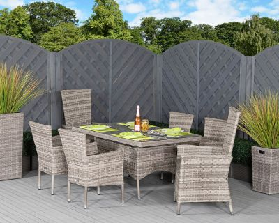 Cambridge 2 Reclining + 4 Non-Reclining Rattan Garden Chairs and Small Rectangular Dining Table Set in Grey